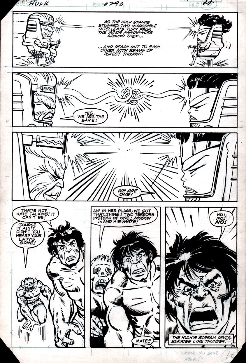Incredible Hulk #290 p 16 (HULK, ABOMINATION, MODOK!) 1983