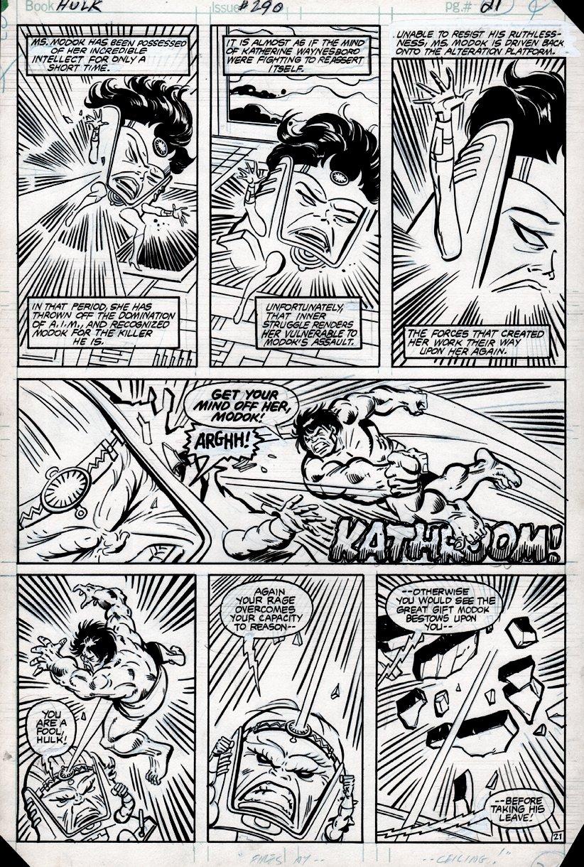 Incredible Hulk #290 p 21 (HULK BATTLES MODOK & MS. MODOK!) 1983