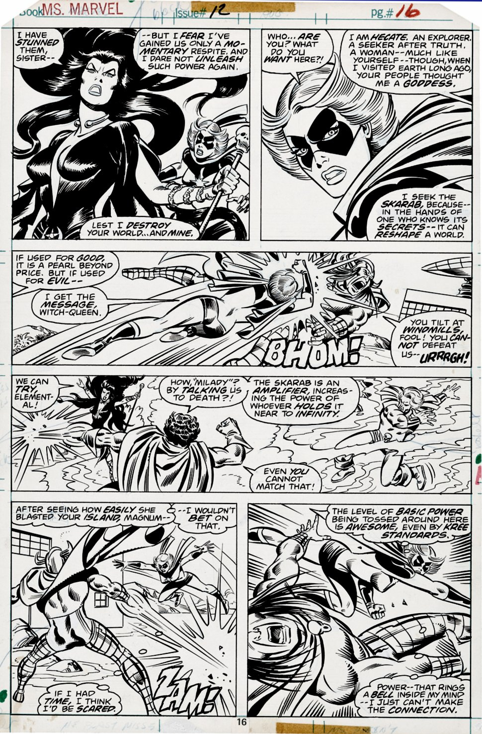 Ms. Marvel #12 p 16 (BEST BATTLE PG IN BOOK!) 1977