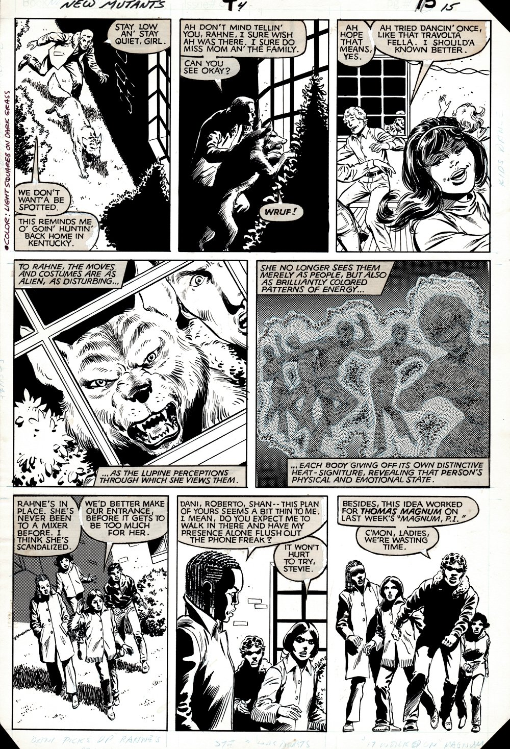 New Mutants #4 p 15 (ENTIRE TEAM!) 1983