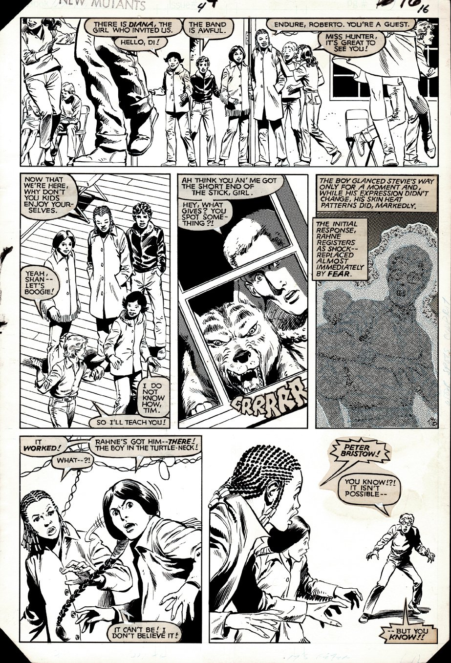 New Mutants #4 p 16 (ENTIRE TEAM!) 1983
