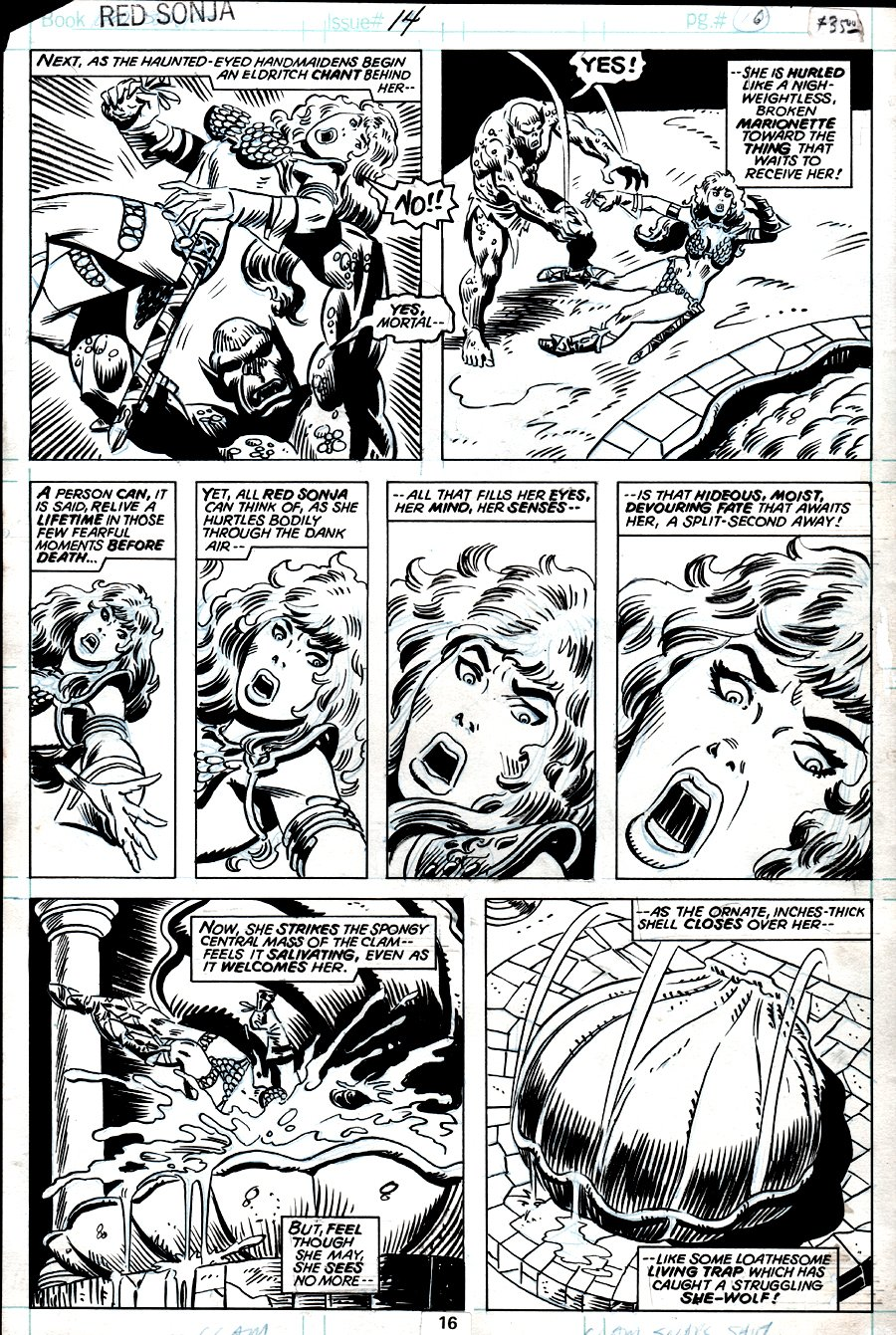 Red Sonja #14 p 16 (RED SONJA BATTLING IN 6 OF 7 PANELS!) 1978