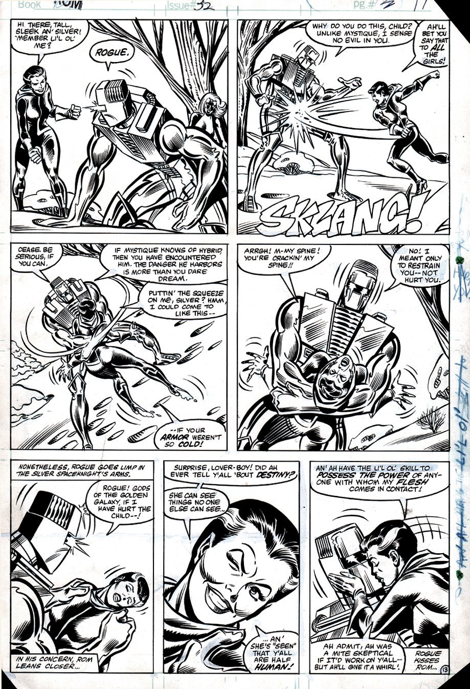 ROM #32 p 13 (VERY EARLY ROGUE APPEARANCE & FIRST KISSING ROM!) 1982