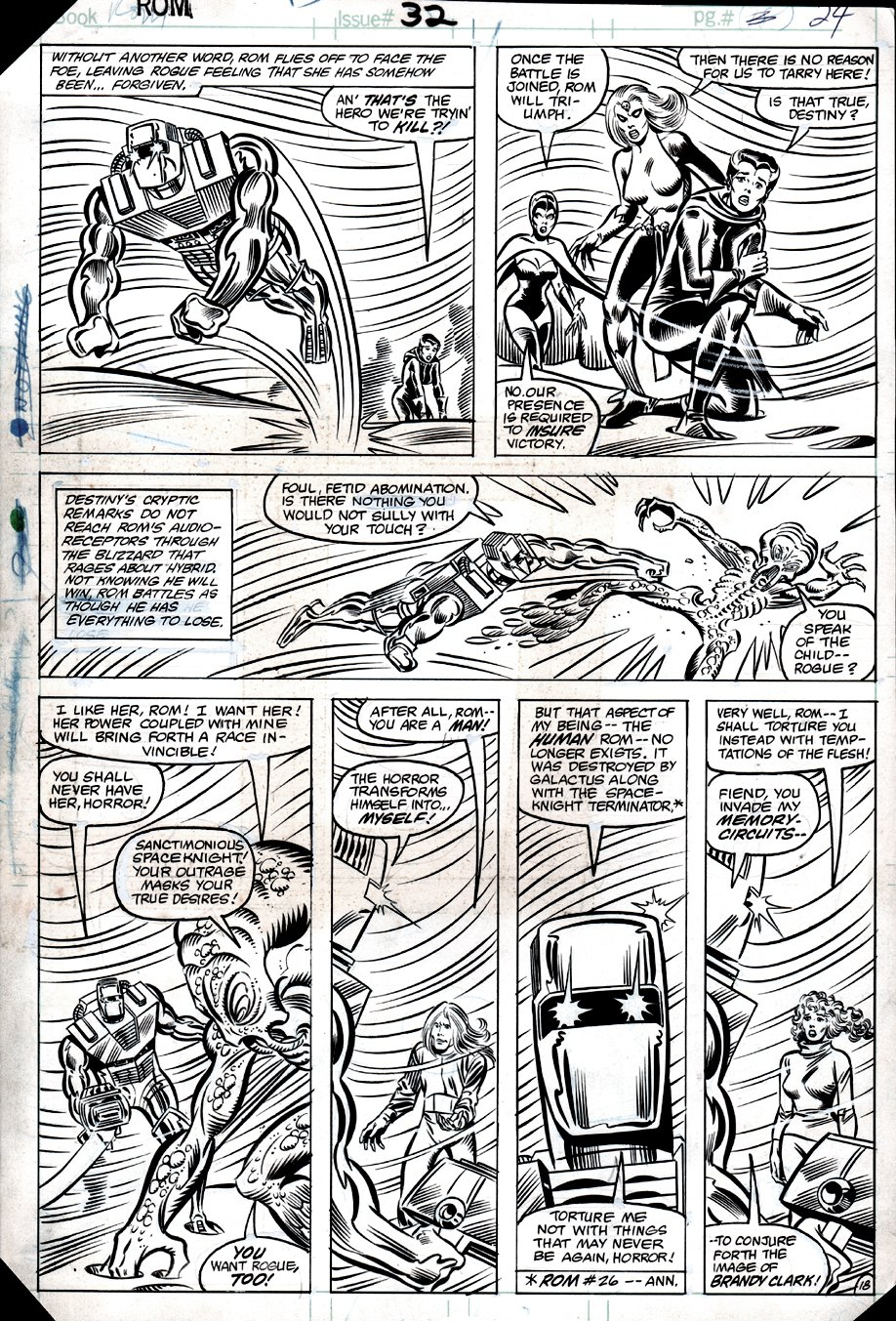 ROM #32 p 18 (VERY EARLY ROGUE, MYSTIQUE, DESTINY APPEARANCES, HELPING ROM BATTLE HYBRID!) 1982