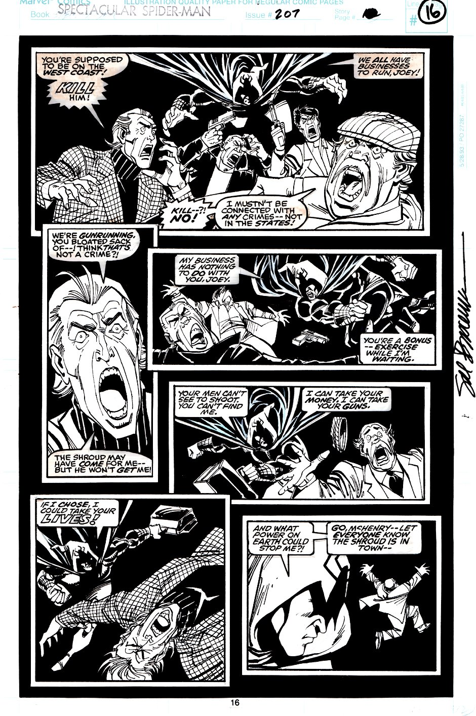 Spectacular Spider-Man #207 p 16 (The Shroud Vs Thugs!) 1993