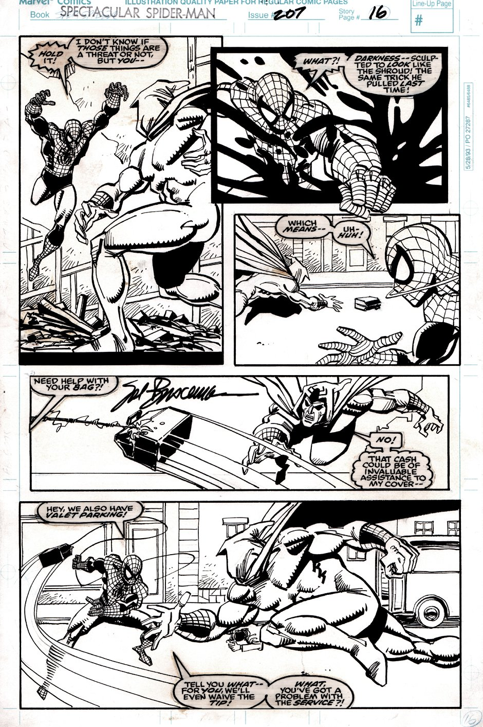 Spectacular Spider-Man #207 p 16 (Spider-Man Battles The Shroud In EVERY PANEL!) 1993