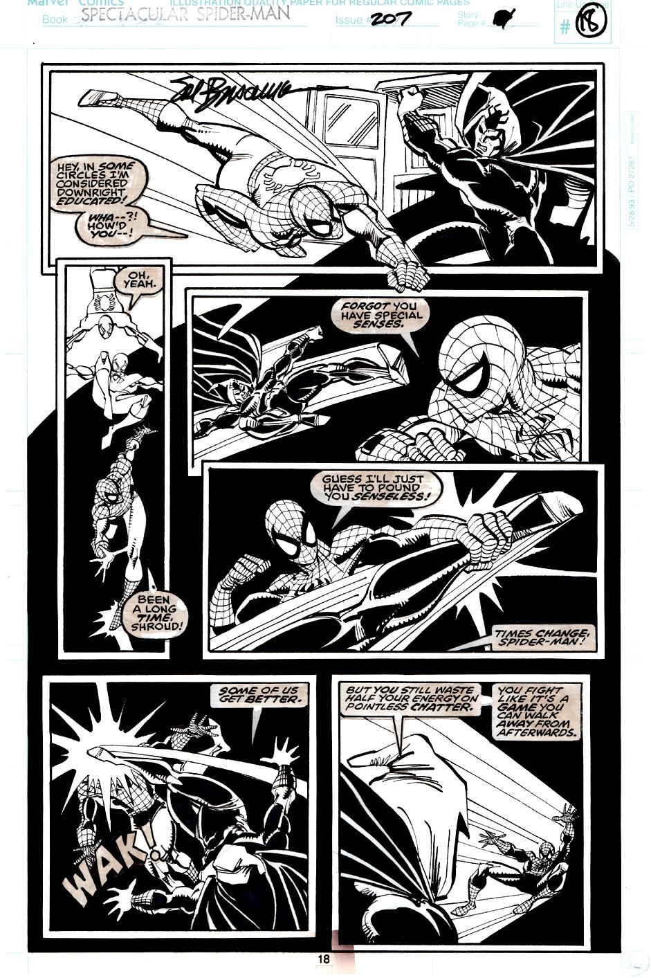 Spectacular Spider-Man #207 p 18 (Spider-Man Battles The Shroud In EVERY PANEL!) 1993
