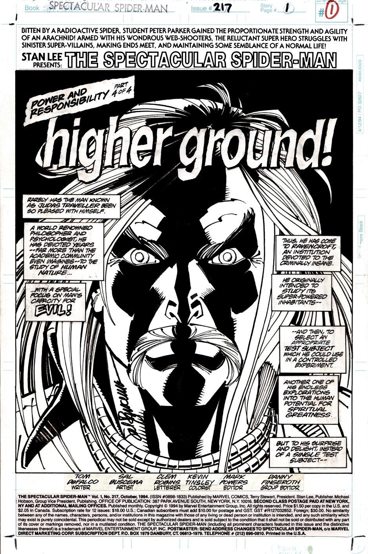 Spectacular Spider-Man #217 p 1 SPLASH (1994)