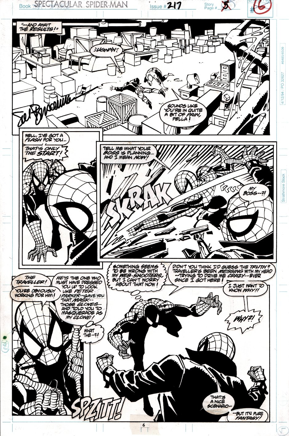 Spectacular Spider-Man #217 p 6 (VERY EARLY SPIDER-MAN / BEN REILLY BATTLE!) 1994