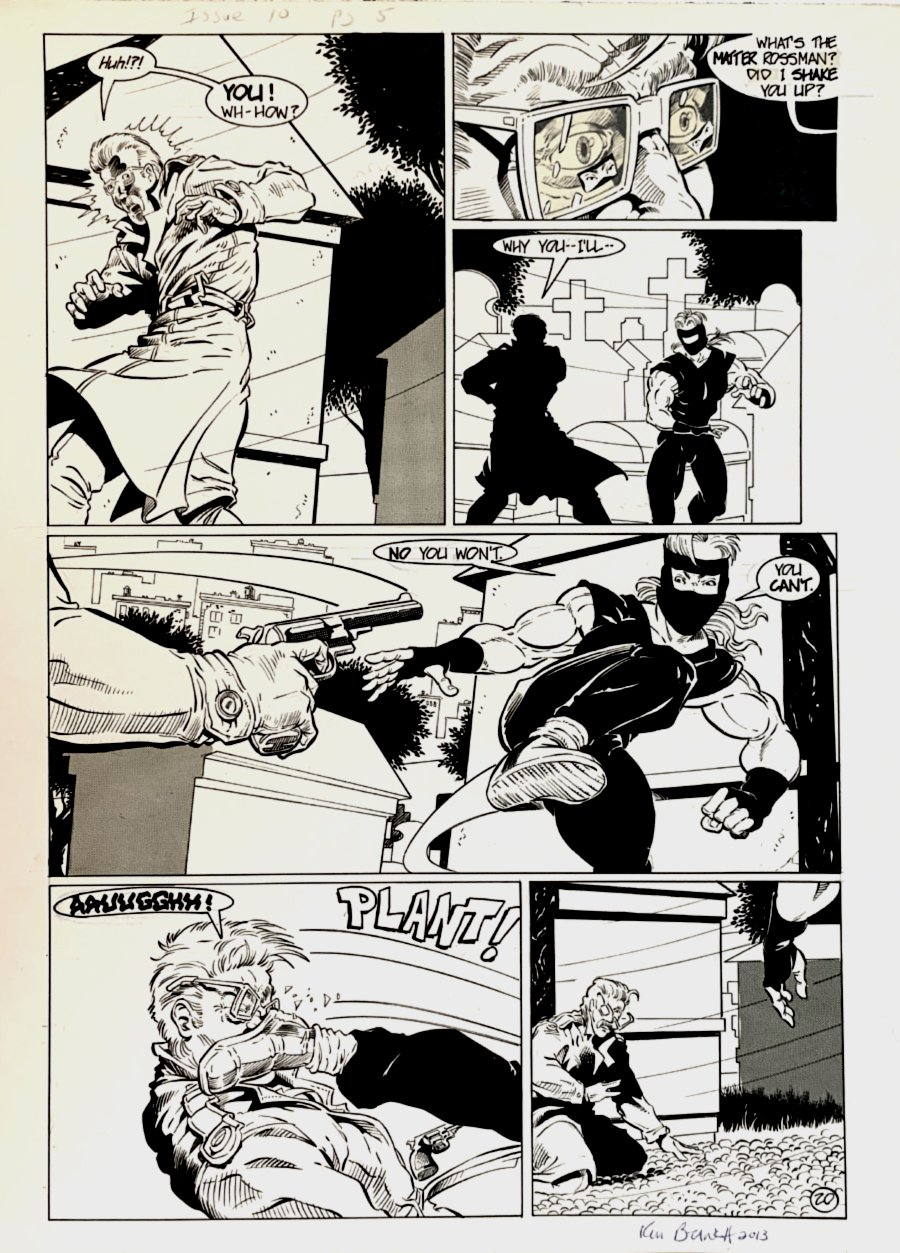 Cat & Mouse #10 p 20 (Cat Beats Up Martin Rossman!) Large Art -1990