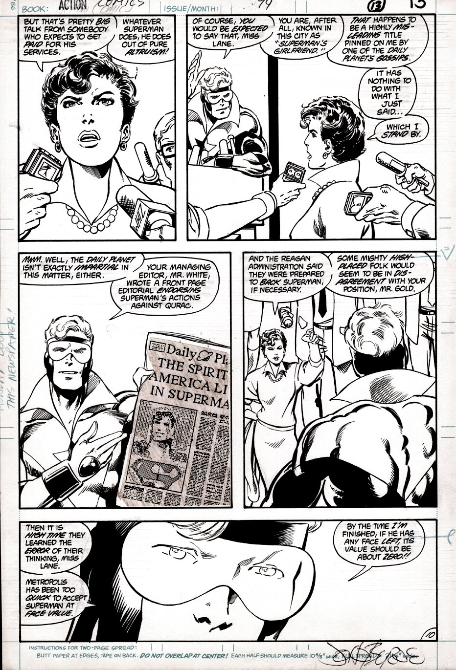 Action Comics #594 p 10 (Booster Gold & Lois Lane Arguing!) 1987