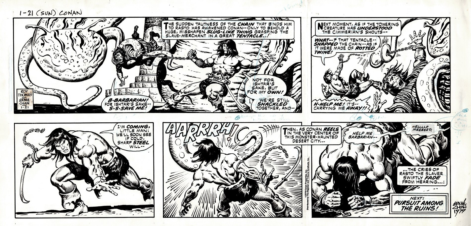 Conan Sunday Strip 1-21-79 SOLD LIVE ON 'DUELING DEALERS EPISODE #36 PODCAST ON 9-15-2021 (RE-WATCH THIS FUNNY ART SELLING SHOW HERE)