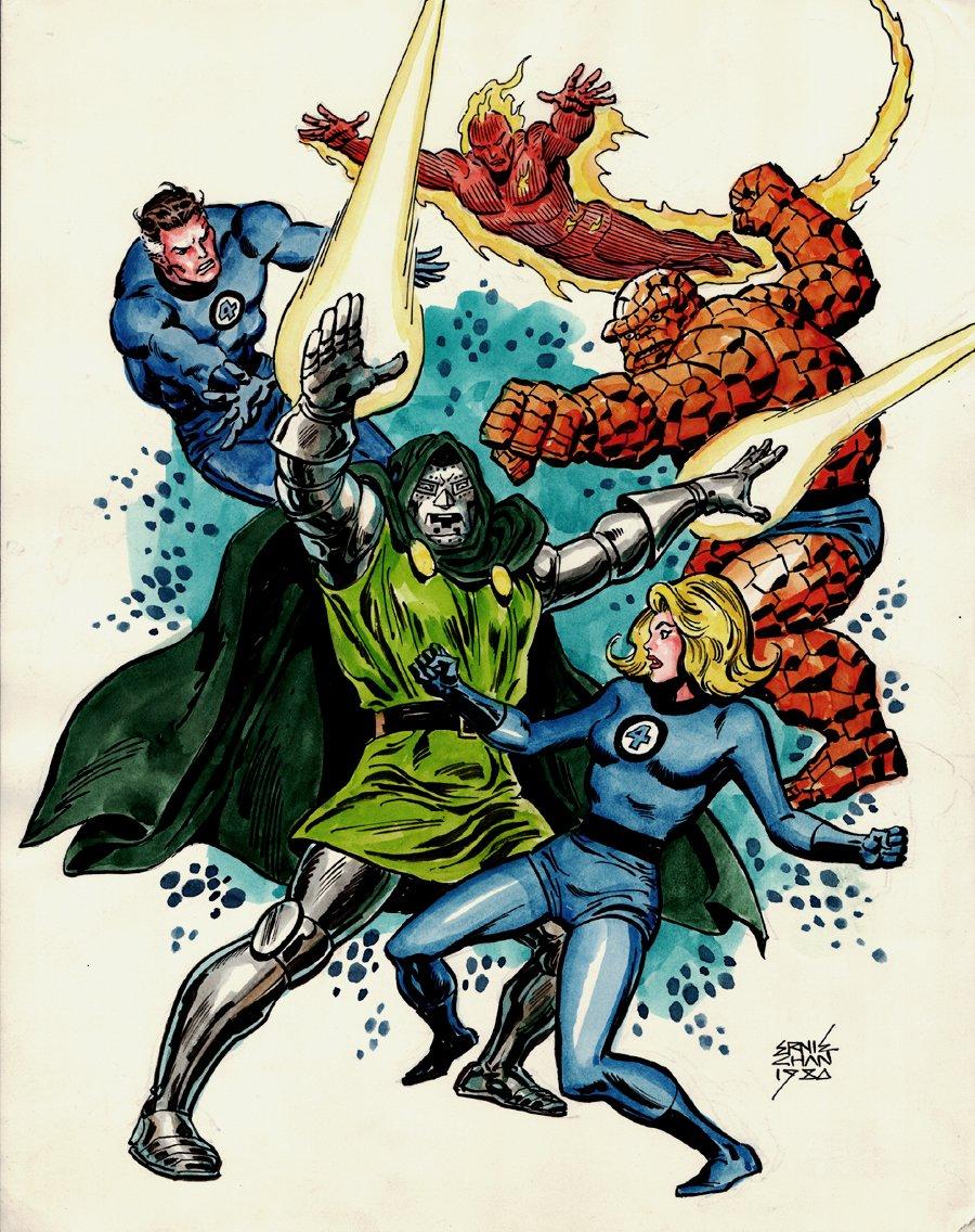 Fantastic Four vs. Doctor Doom Illustration (SOLD LIVE ON 'DUELING DEALERS OF COMIC ART' EPISODE #35 PODCAST ON 9-4-2021