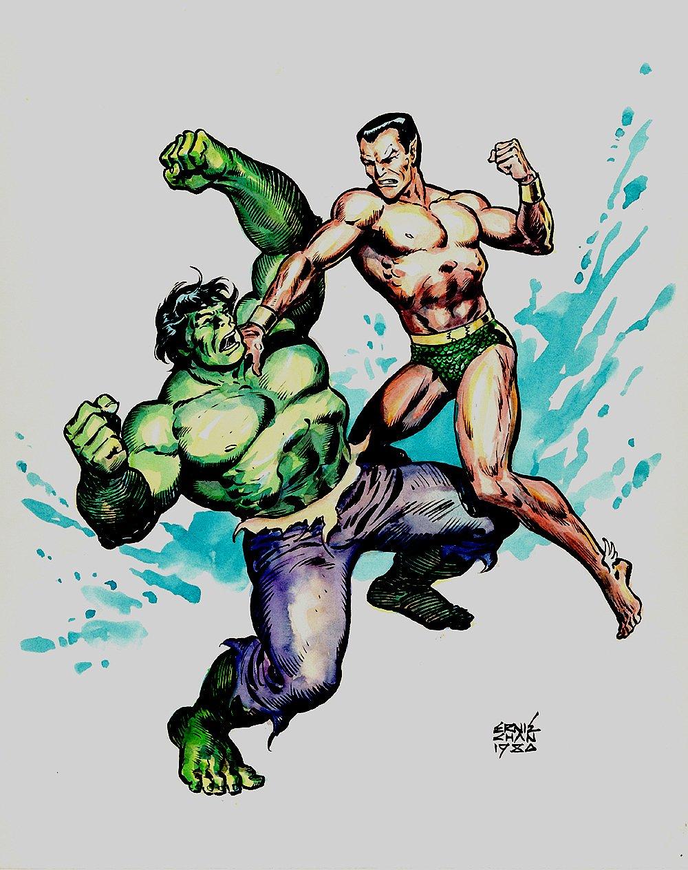 The Incredible Hulk Vs The Sub-Mariner Hand Colored Pinup (1980)