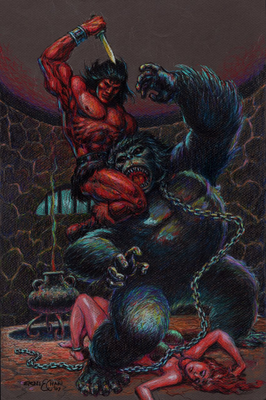 Conan Hand Colored Gorilla / Babe Battle Pinup (2007)