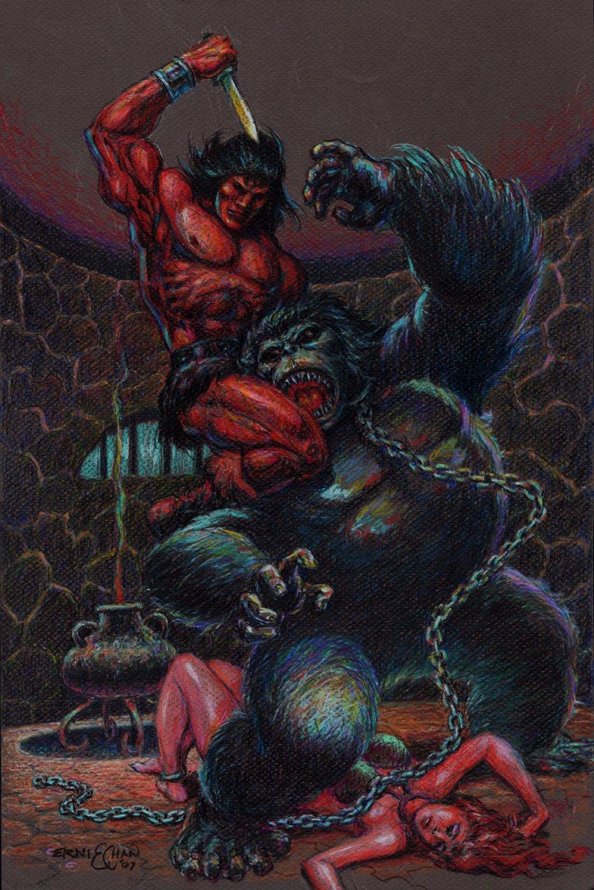 Conan Hand Colored Gorilla / Babe Battle Pinup (2007)