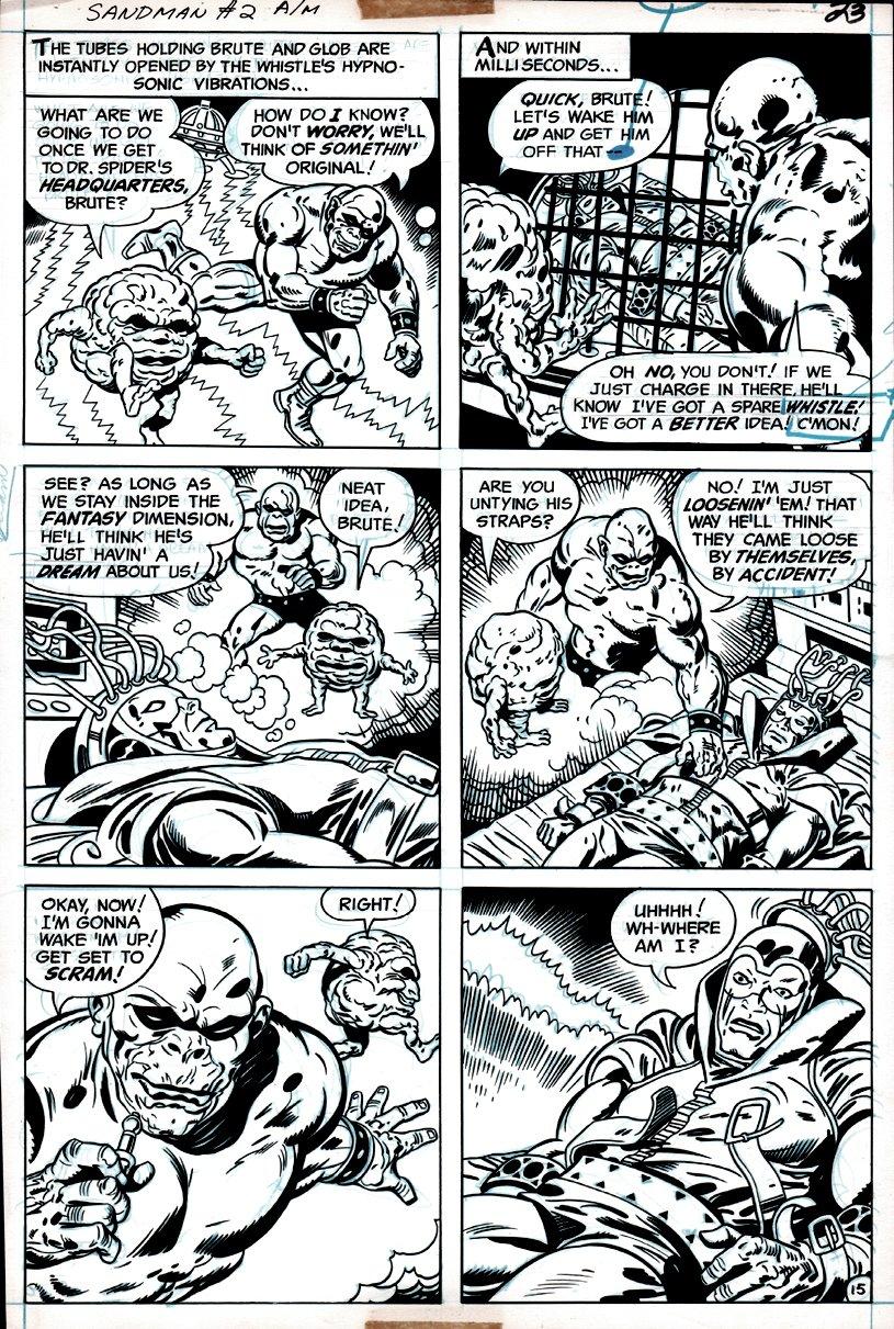 Sandman #2 p 15 (DREAMING SANDMAN WITH BRUTE & GLOB SAVING HIM!) 1975