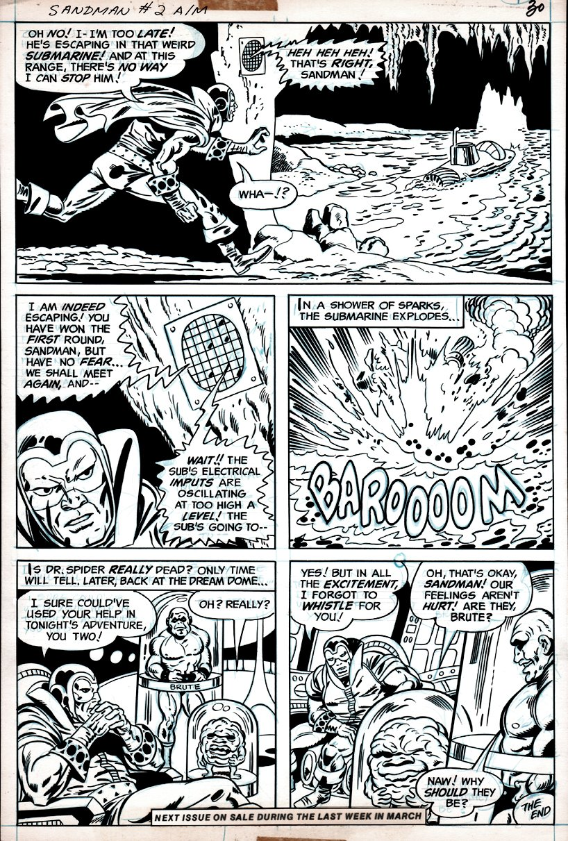 Sandman #2 p 20 (SANDMAN IN EVERY PANEL WITH BRUTE & GLOB!) 1975