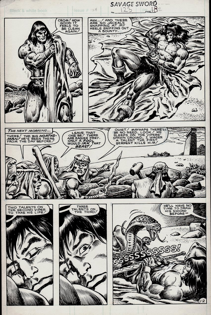 Savage Sword of Conan #123 p 12 (CONAN IN EVERY PANEL!) 1985