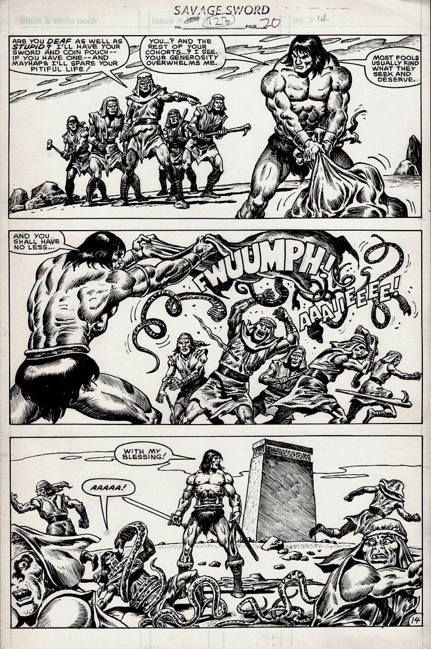 Savage Sword of Conan #123 p 14 (AWESOME CONAN 3 PANEL BATTLE PAGE!) 1985