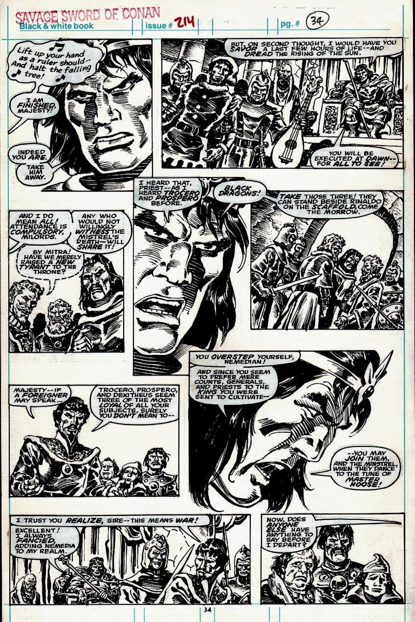 Savage Sword of Conan #214 p 34 (Conan Throughout Entire Page!) 1993