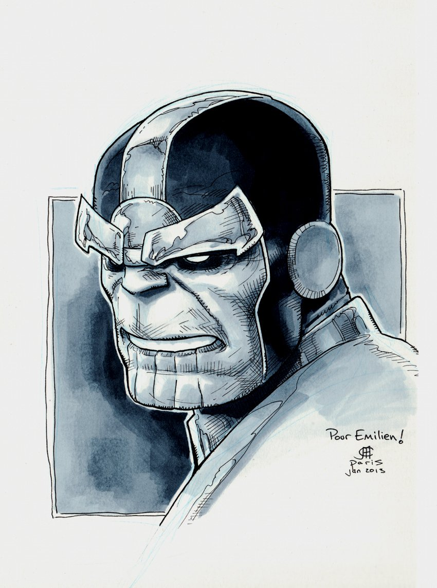 Thanos Pinup (SOLD LIVE ON 'DUELING DEALERS OF COMIC ART' EPISODE #28 PODCAST ON 8-2-2021 (RE-WATCH THIS FUNNY ART SELLING SHOW HERE)