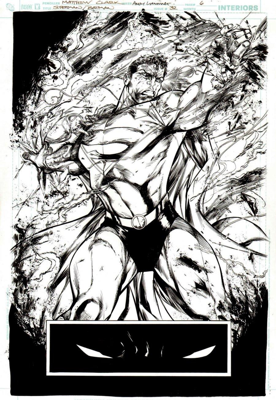 Superman / Batman #32 p 6 SPLASH (AWESOME SUPERMAN...COOL BATMAN EYES!) 2006