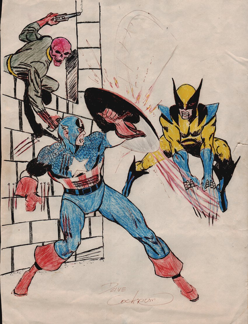 Captain America, Wolverine, Red Skull Hand Colored Battle Pinup (1970s)