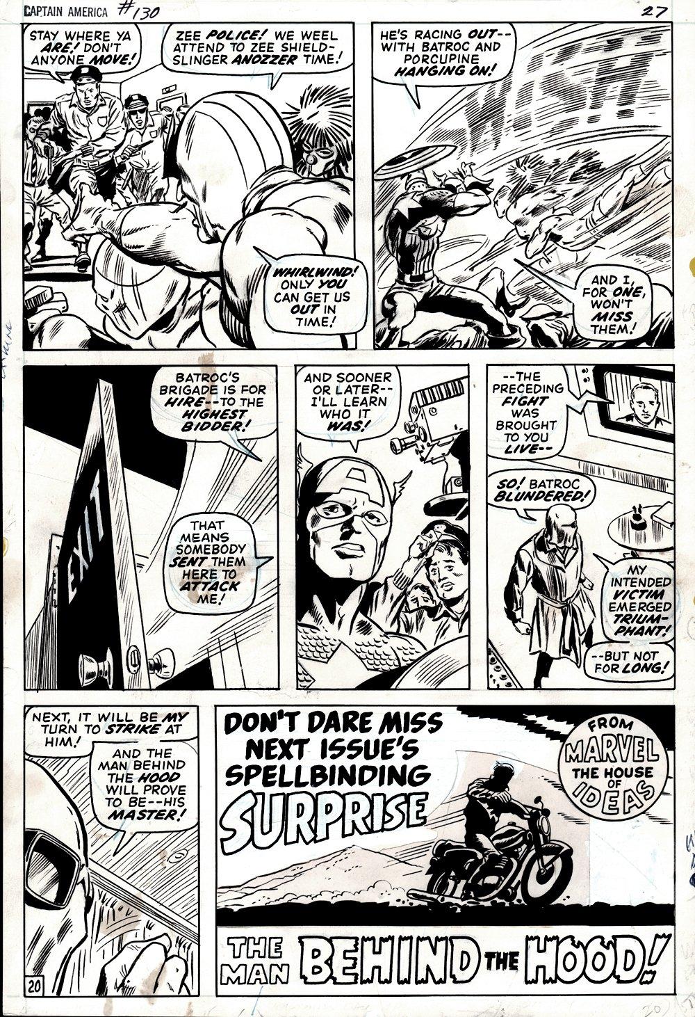 Captain America #130 p 20 (Captain America, The Hood, Batroc, Whirlwind, Porcupine!) 1970