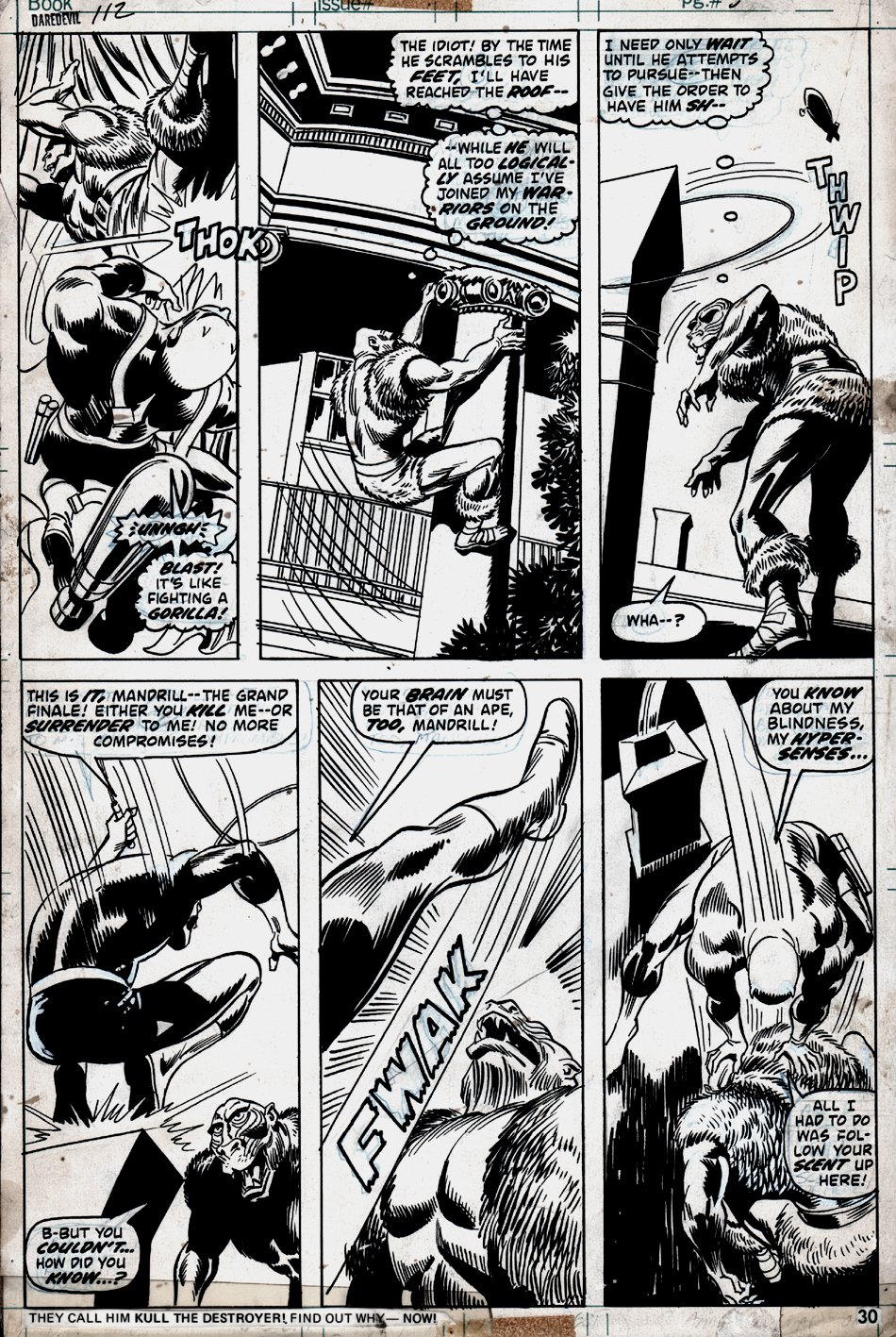 Daredevil #112 p 30 (BEST BATTLE PAGE IN BOOK!) 1974