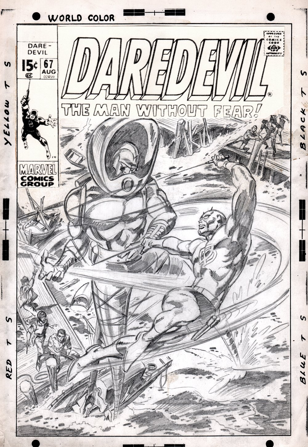 Daredevil #67 Fully Penciled LOST COVER (1970)