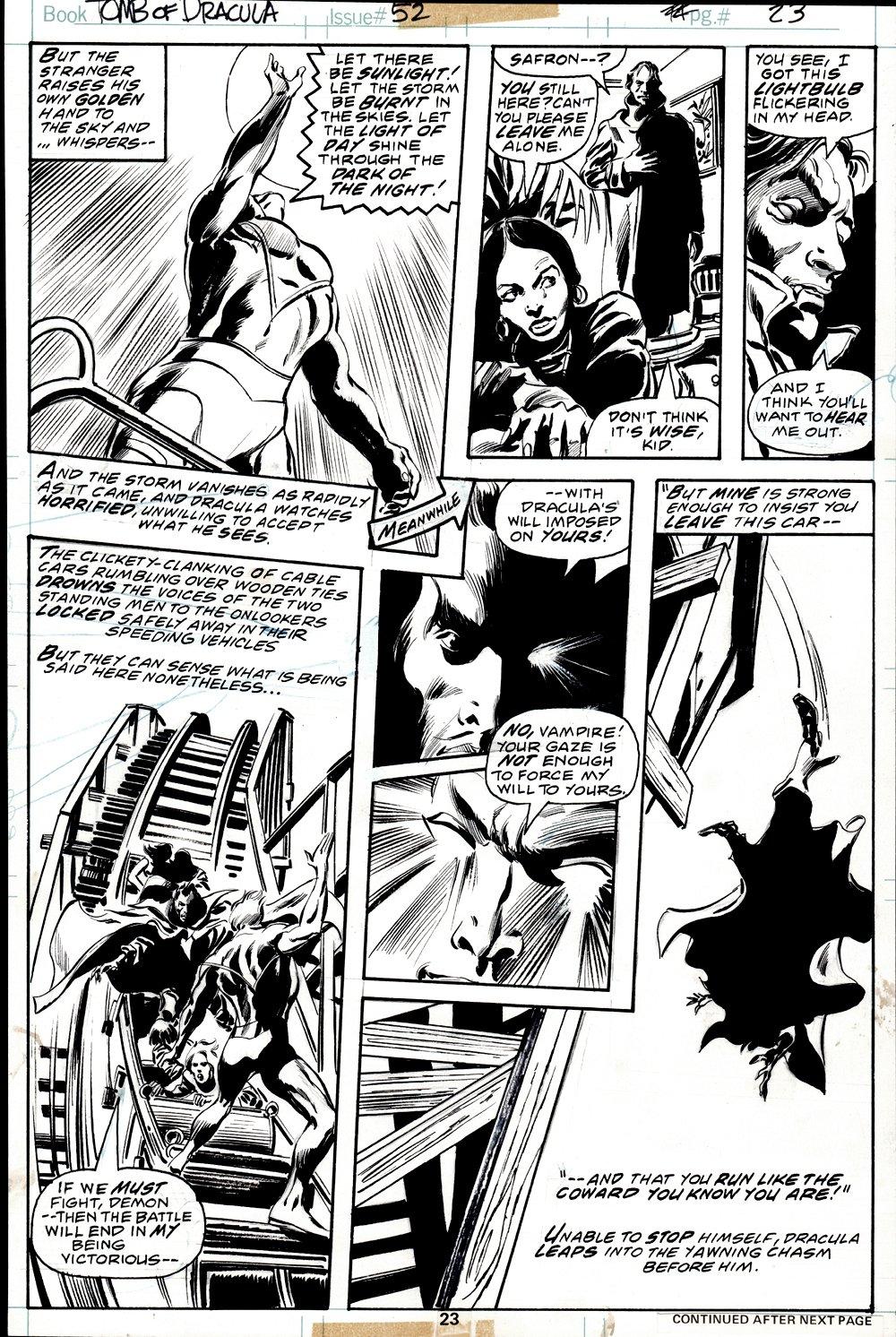 Tomb of Dracula #52 p 23 (COVER SCENE! DRACULA BATTLES THE GOLDEN ANGEL!) 1976