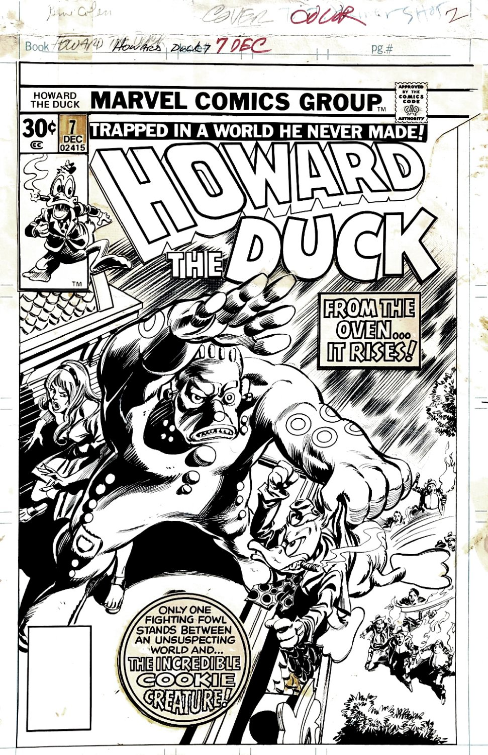 Howard the Duck #7 Cover (HOWARD, BEVERLY, COOKIE MONSTER!) 1976