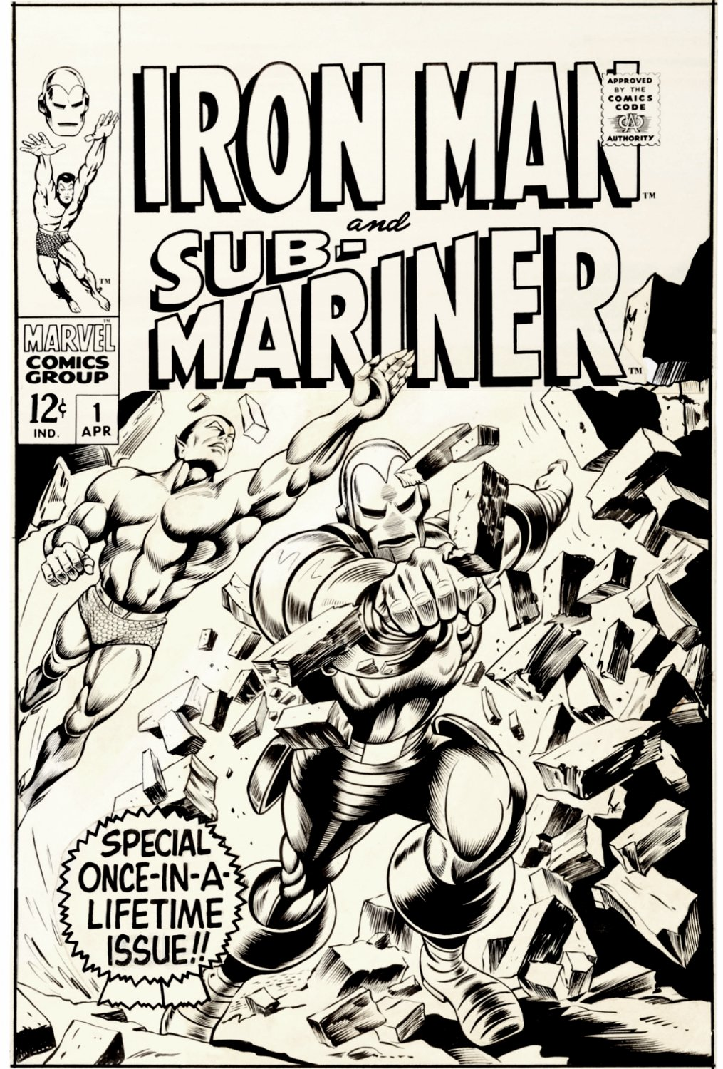 Iron Man & Sub-Mariner #1 Large Art Cover (FIRST HISTORIC 1967 COVER THAT STARTED MARVEL'S RENUMBERING THEIR TITLES!)