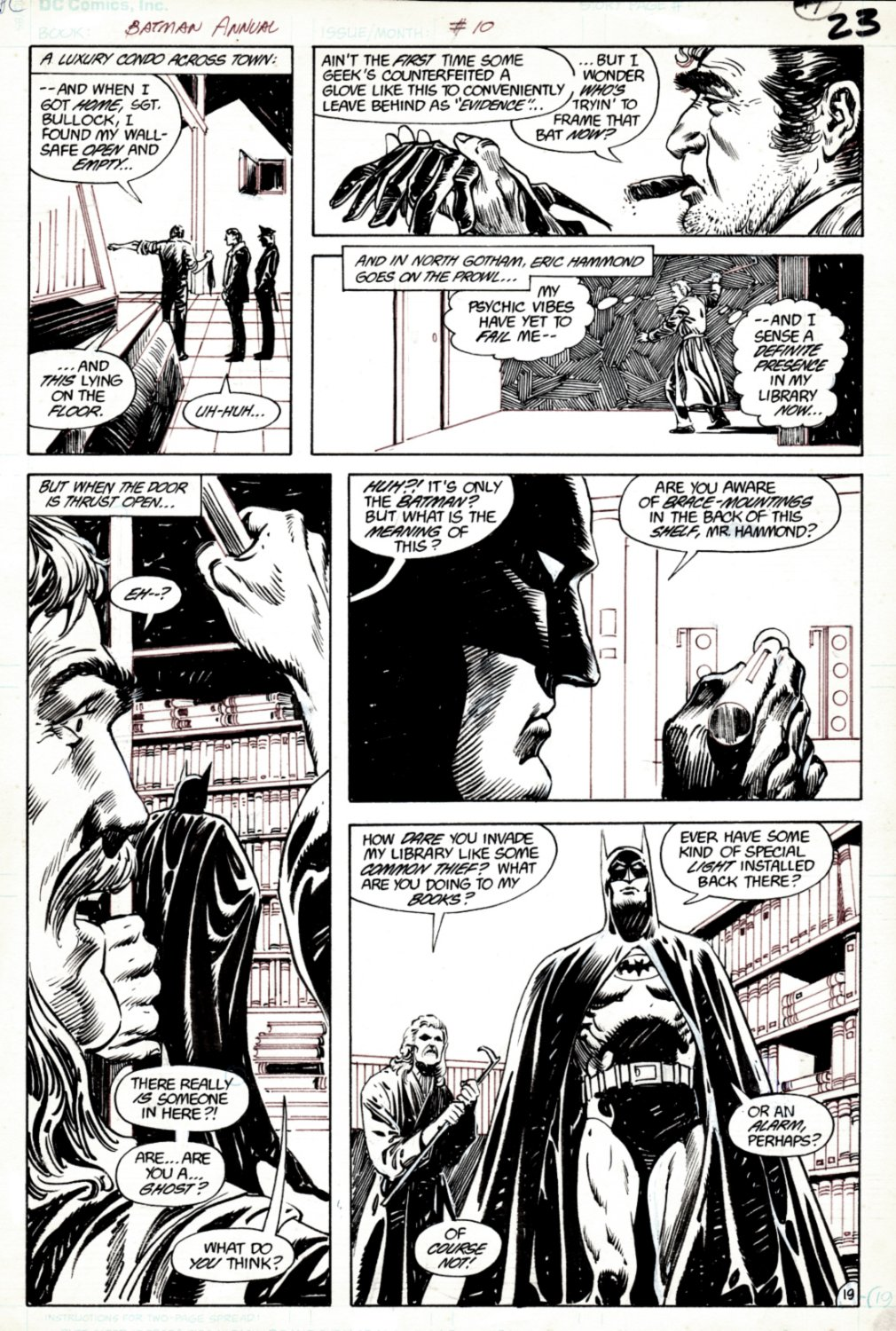 Batman Annual #10 p 19 (SOLD LIVE ON 'DUELING DEALERS OF COMIC ART' EPISODE #34 PODCAST ON 9-1-2021(RE-WATCH THIS FUNNY ART SELLING SHOW HERE)