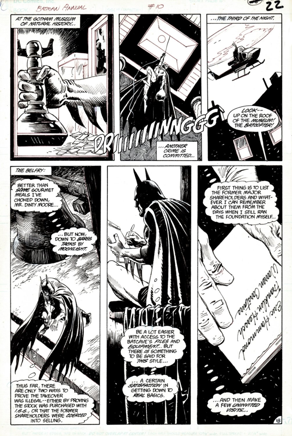 Batman Annual #10 p 18 (SOLD LIVE ON 'DUELING DEALERS OF COMIC ART' EPISODE #35 PODCAST ON 9-4-2021(RE-WATCH THIS FUNNY ART SELLING SHOW HERE)