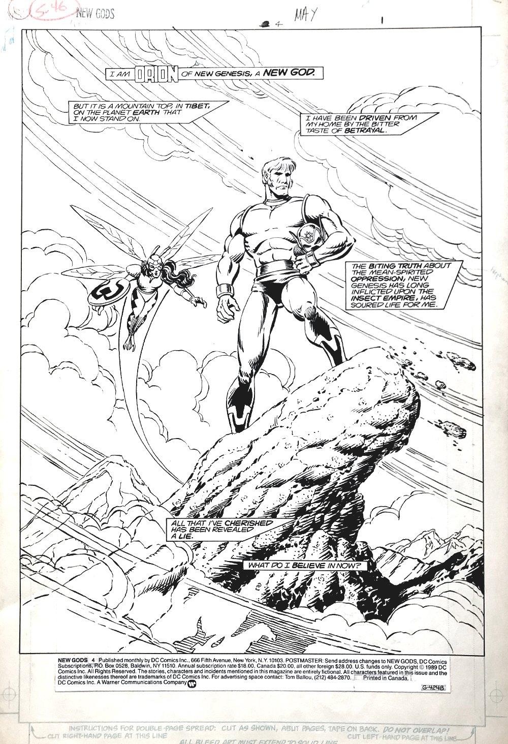 New Gods #4 p 1 SPLASH (ORION & FORAGER!) Large Art - 1984