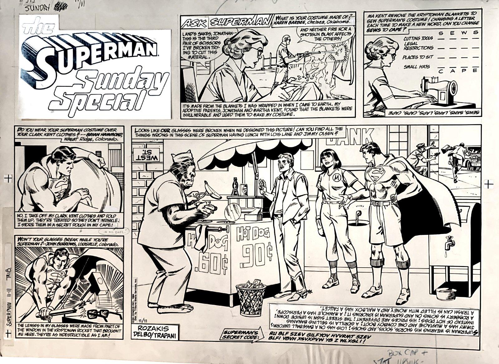 Superman Sunday Comic Strip November 11, 1984 (Very Large)