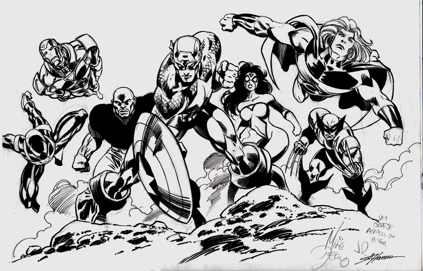 Spider-Man, Iron Man, Cap, Spider-Woman, Thor, Wolverine, Cage Large Pinup!