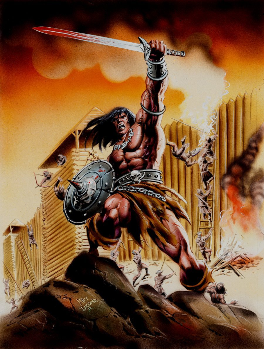 Conan The Barbarian #165 Cover Painting (Brazilian Issue, AWESOMEW SCENE!) 1990s