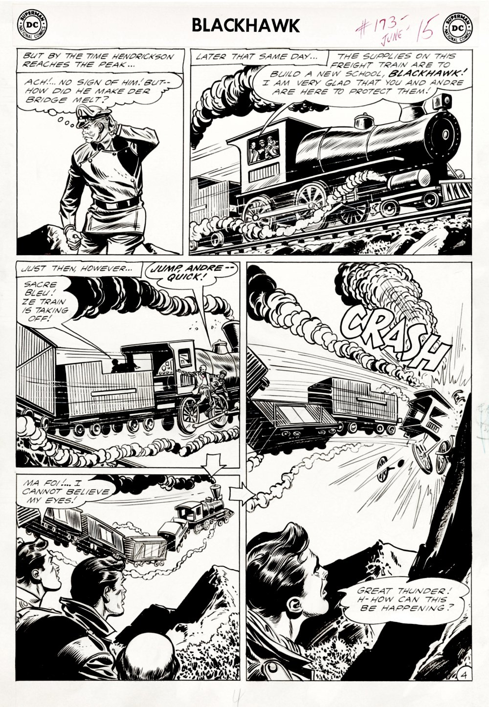 Blackhawk #173 p 4 (Blackhawk & Andre Train Crash!) Large Art - 1962