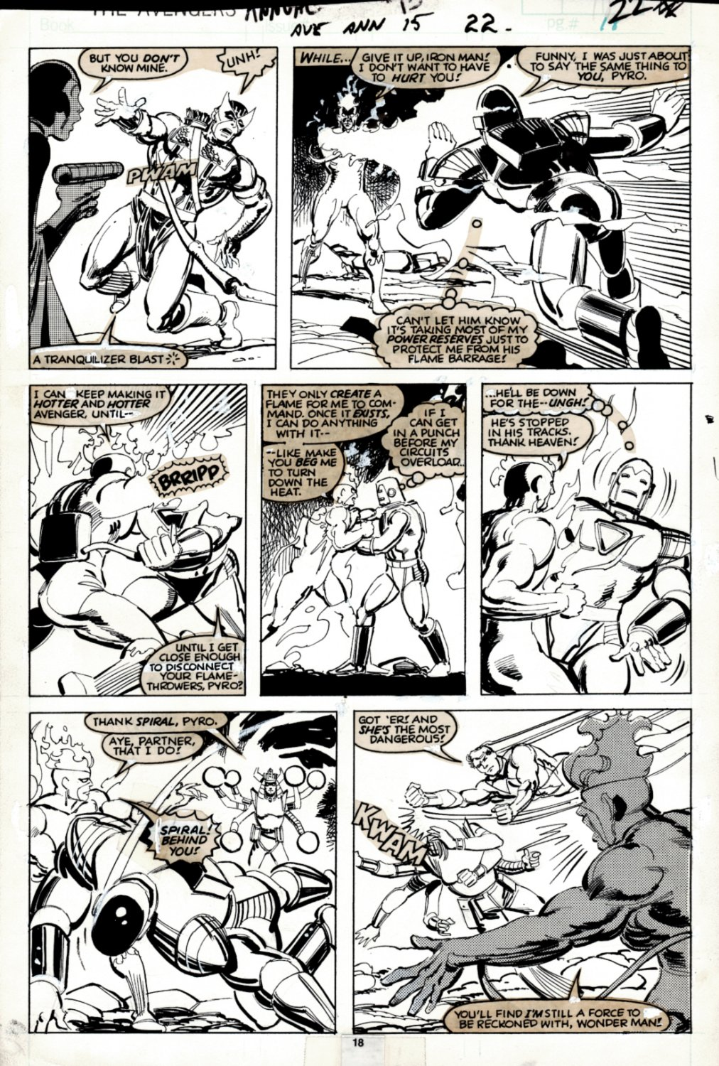 Avengers Annual #15 p 18 (SOLD LIVE ON 'DUELING DEALERS OF COMIC ART' EPISODE #37 PODCAST ON 9-22-2021(RE-WATCH THIS FUNNY ART SELLING SHOW HERE)