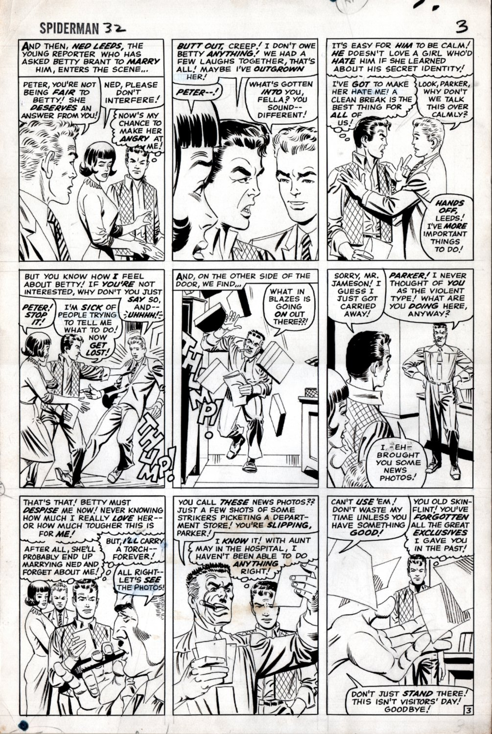 Amazing Spider-Man #32 p 3 (Peter Parker, Betty Brant, Ned Leeds, J. Jonah Jameson In ALL PANELS!) Large Art - 1965