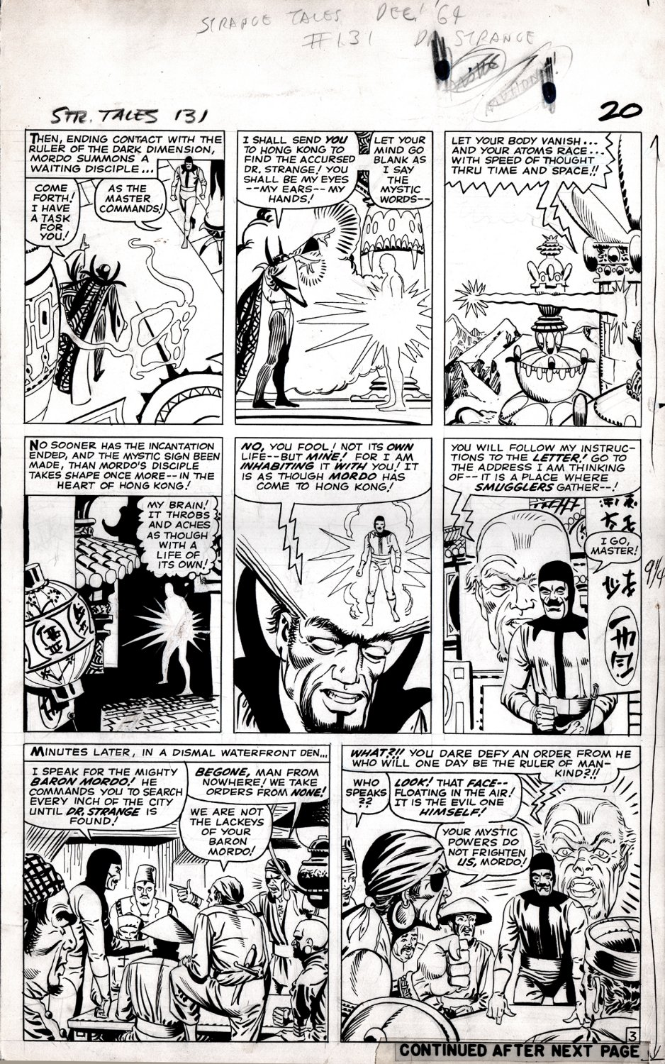 Strange Tales #131 p 3 (BARON MORDO USES HIS POWERS THROUGHOUT ENTIRE PAGE SEARCHING FOR DR STRANGE!) 1964