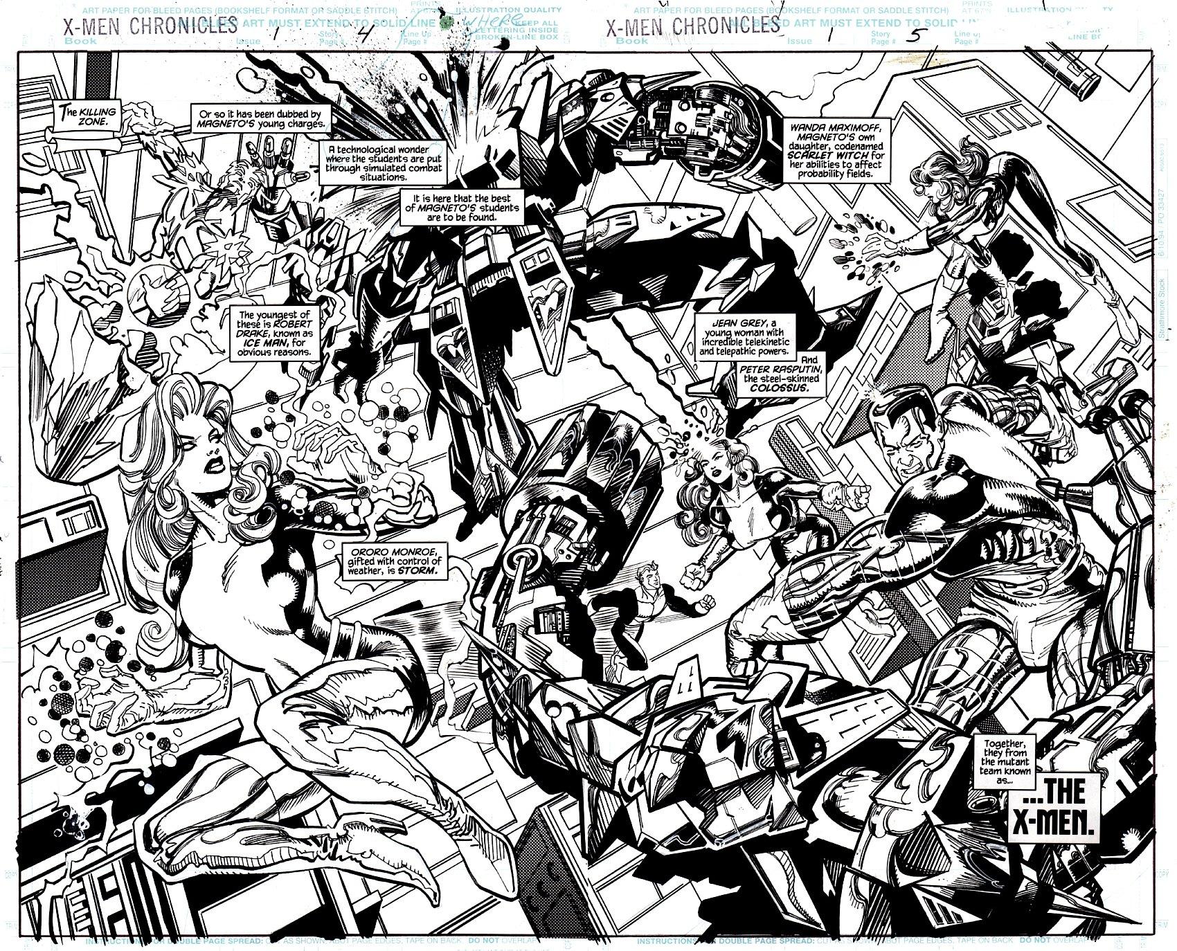 X-Men Chronicles #1 p 4-5 Double Spread Splash (ENTIRE TEAM BATTLING IN MAGNETO'S KILLING ZONE!) 1994