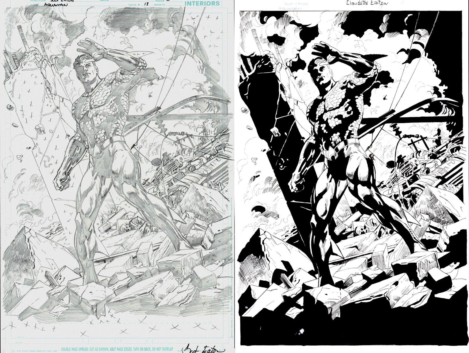 Aquaman #18 p 2 SPLASH Penciled Splash & Separate Inked Splash(2017)