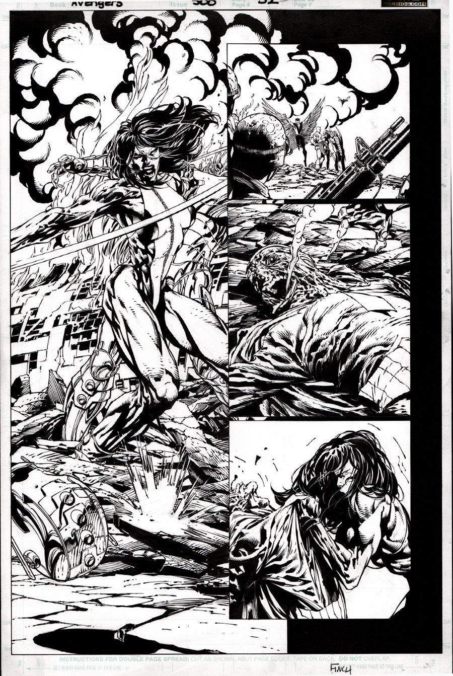 Avengers #500 p 32 SEMI-SPLASH (DEATH OF VISION RIGHT HERE!) 2004