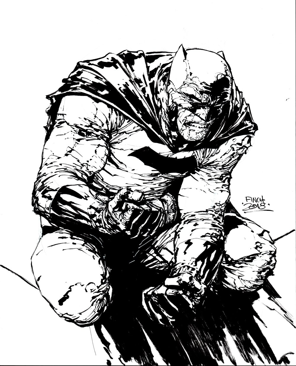 Frank Miller Style Batman Pinup (SOLD LIVE ON 'DUELING DEALERS OF COMIC ART' EPISODE #7 PODCAST ON 3-10-2021 (RE-WATCH OUR LIVE ART SELLING PODCAST HERE!)