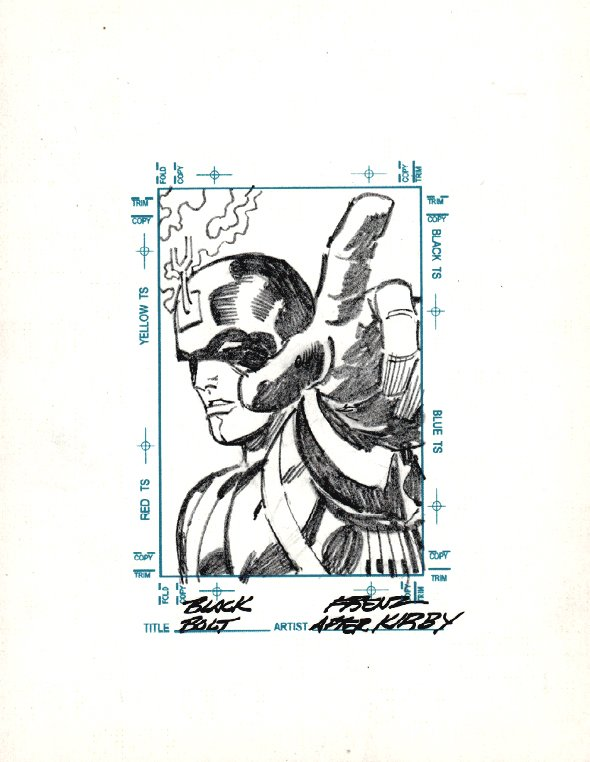 BLACK BOLT Sketchagraph Card Drawing (JACK KIRBY HOMAGE!)