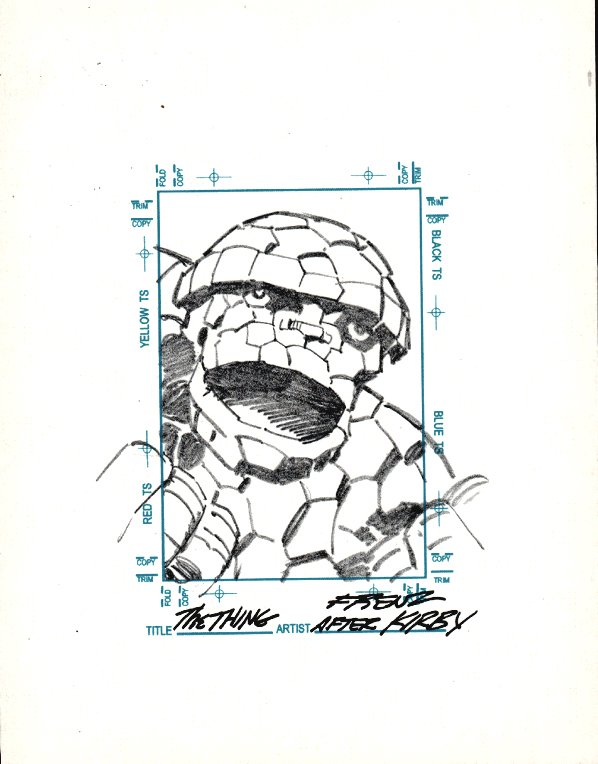 THE THING Sketchagraph Card Drawing (JACK KIRBY HOMAGE!)
